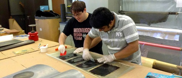 SIU students working on composites
